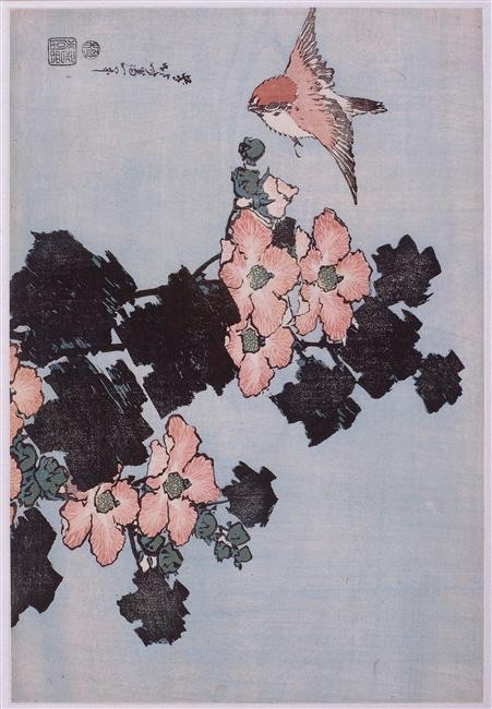 K.Hokusai, Hibiscus and Sparrow